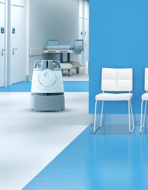 Whiz Commercial Robot Vacuum Cleans Hospital Carpet